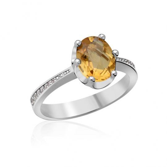 Zlatý zásnubní prsten DF 3362, bílé zlato, citrín s diamanty