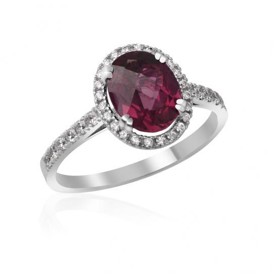 Zlatý zásnubní prsten DF 3365, bílé zlato, rodolit s diamanty