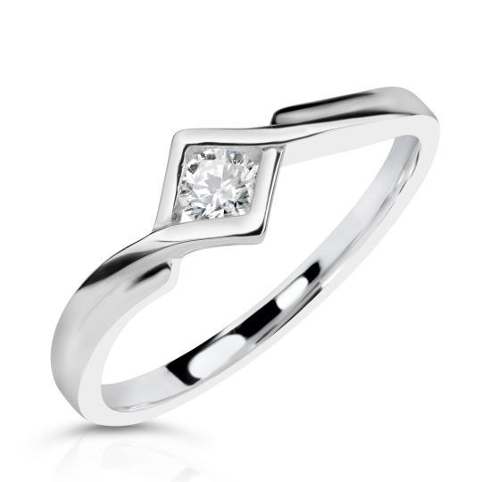 Zlatý zásnubní prsten DF 3427, bílé zlato, s briliantem