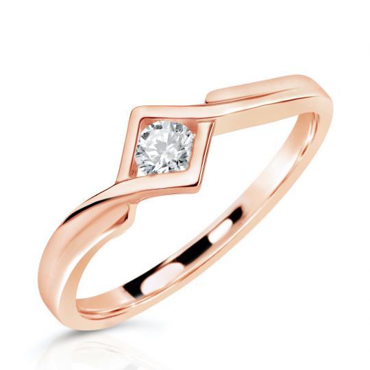 Zlatý zásnubní prsten DF 3427, růžové zlato, s briliantem