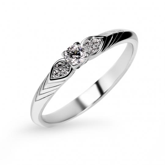 Zlatý zásnubní prsten DF 3500, bílé zlato, s briliantem
