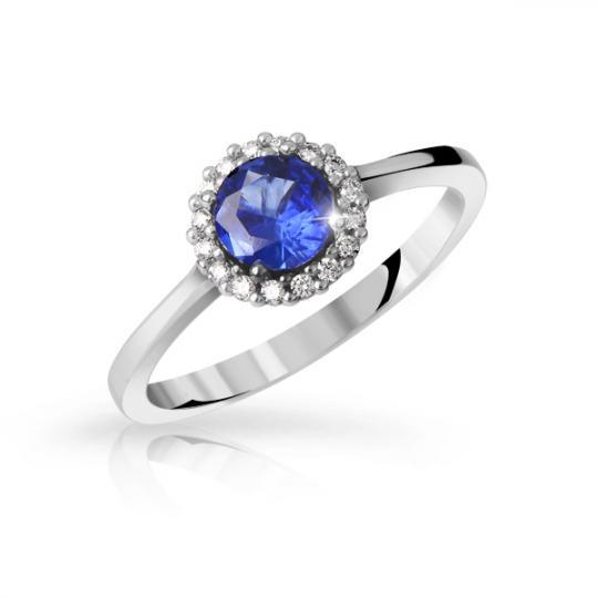 Zlatý zásnubní prsten DF 3647, bílé zlato, safír s diamanty