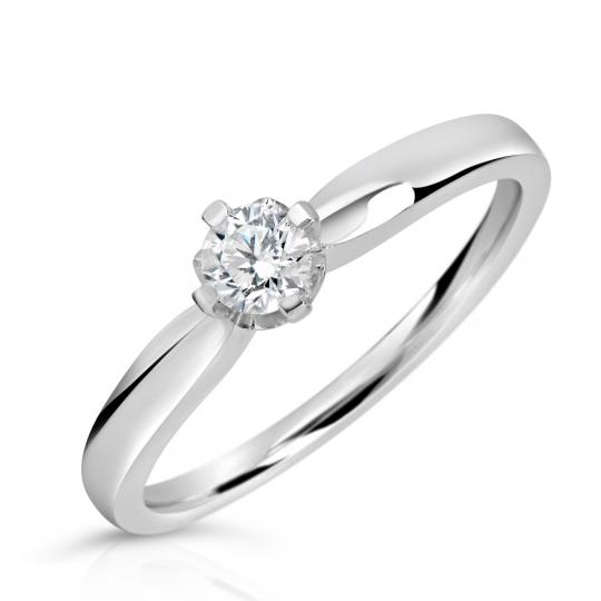 Zlatý zásnubní prsten DF 4040, bílé zlato, s briliantem