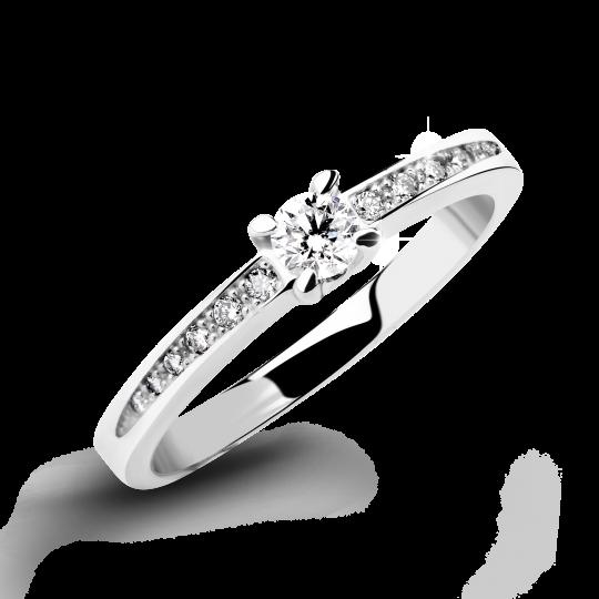 Zlatý zásnubní prsten DF 4094, bílé zlato, s briliantem