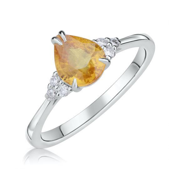 Zlatý zásnubní prsten DF 4292, bílé zlato, citrín