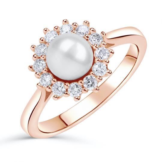 Zlatý zásnubní prsten DF 4300, růžové zlato, sladkovodní perla, brilianty