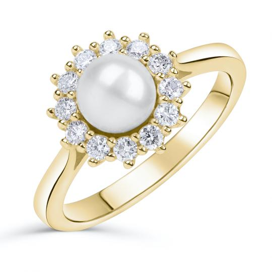 Zlatý zásnubní prsten DF 4300, žluté zlato, sladkovodní perla, brilianty