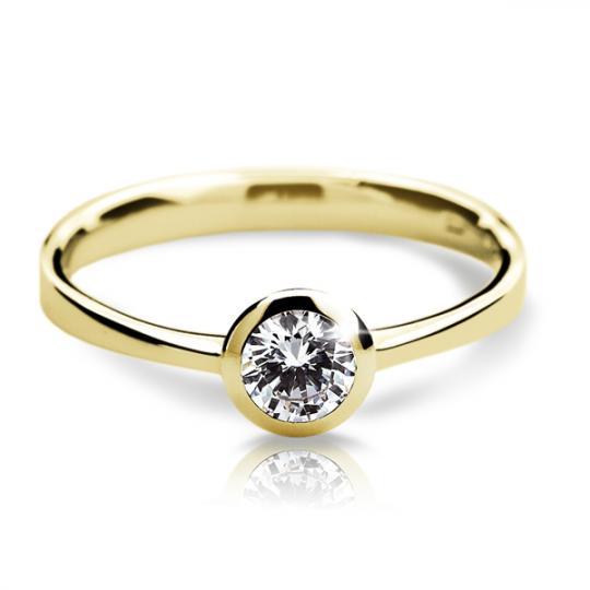 Zlatý zásnubný prsteň Danfil DF1883, žlté zlato s diamantom
