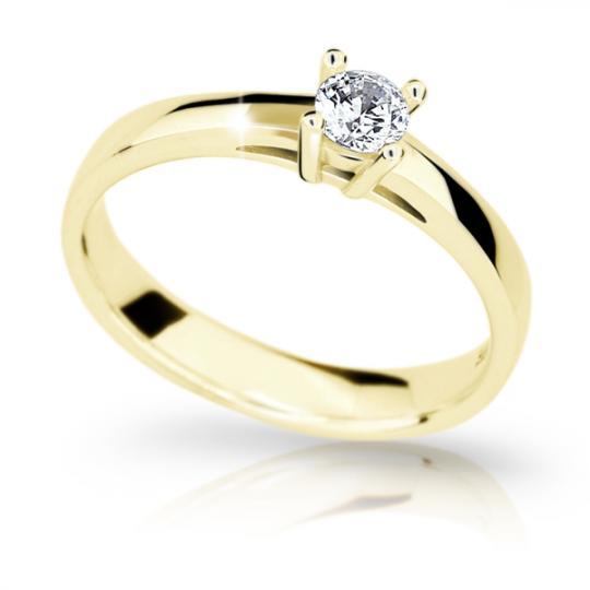 Zlatý zásnubný prsteň Danfil DF1902, žlté zlato s briliantom