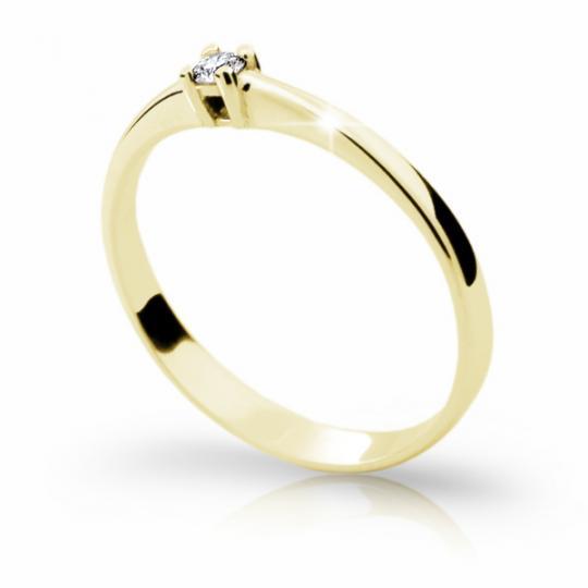 Zlatý zásnubný prsteň Danfil DF1904, žlté zlato s briliantom