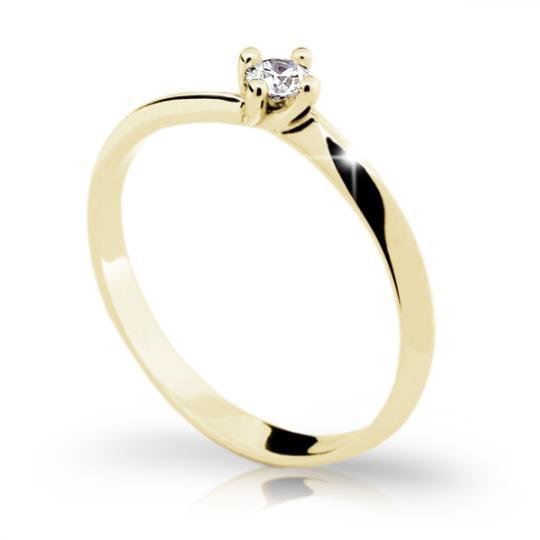 Zlatý zásnubný prsteň Danfil DF1907, žlté zlato s briliantom