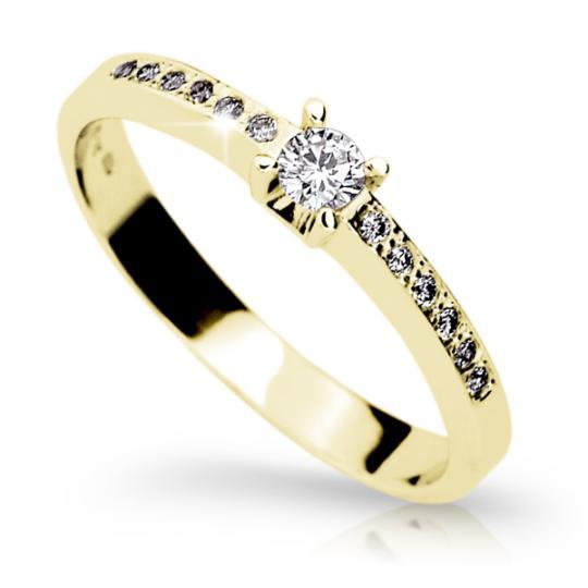 Zlatý zásnubný prsteň Danfil DF1917, žlté zlato s briliantom