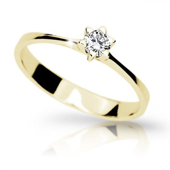 Zlatý zásnubný prsteň Danfil DF1953, žlté zlato s briliantom