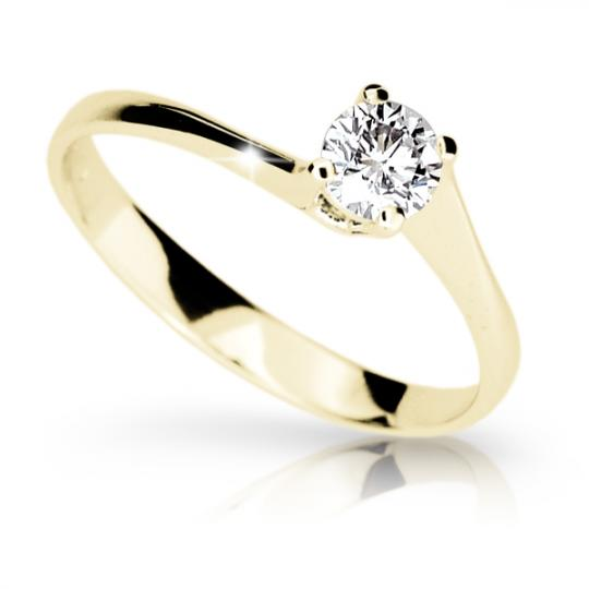 Zlatý zásnubný prsteň Danfil DF1957, žlté zlato s briliantom