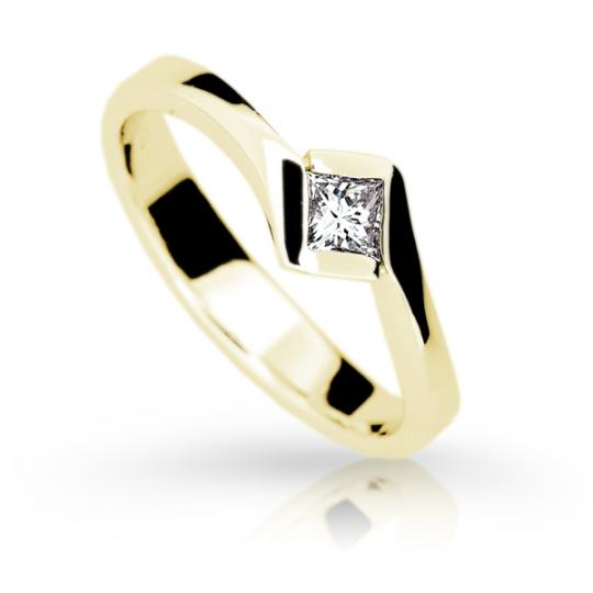 Zlatý zásnubný prsteň Danfil DF1977, žlté zlato s diamantom