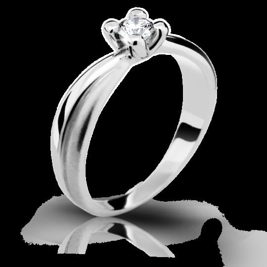 Zlatý zásnubný prsteň DF 1861, biele zlato, s briliantom
