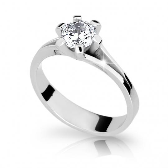 Zlatý zásnubný prsteň DF 1878, biele zlato, s diamantom
