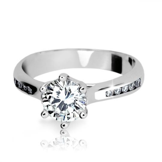 Zlatý zásnubný prsteň DF 1886, biele zlato, s diamantom