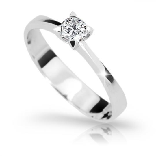 Zlatý zásnubný prsteň DF 1895, biele zlato, s diamantom