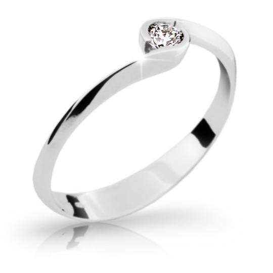 Zlatý zásnubný prsteň DF 1914, biele zlato, s briliantom