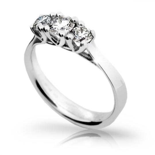 Zlatý zásnubný prsteň DF 1924, biele zlato, s diamantom