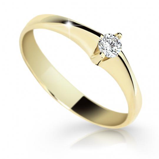 Zlatý zásnubný prsteň DF 1956, žlté zlato, s briliantom