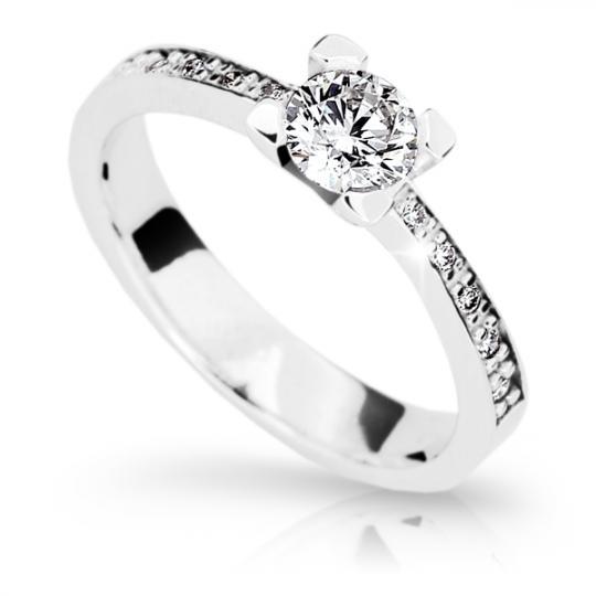 Zlatý zásnubný prsteň DF 1961, biele zlato, s diamantom