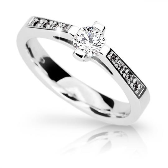Zlatý zásnubný prsteň DF 1962, biele zlato, s diamantom