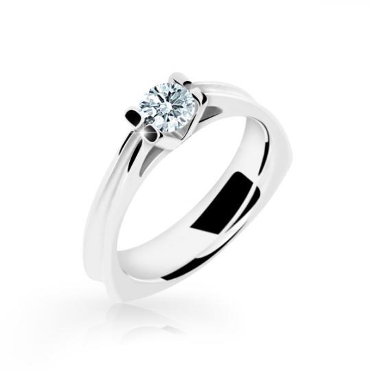Zlatý zásnubný prsteň DF 1992, biele zlato, s diamantom