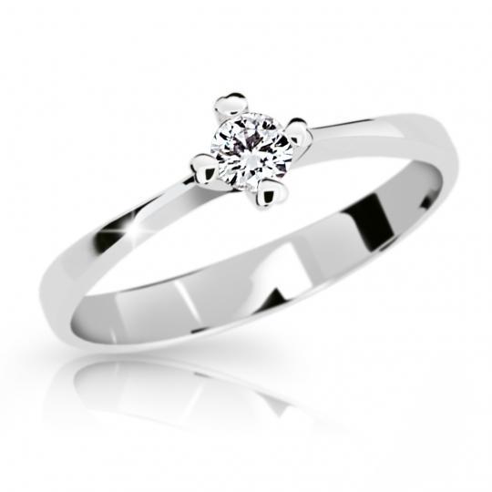 Zlatý zásnubný prsteň DF 2089, biele zlato, s briliantom