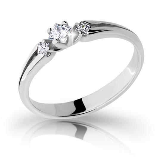 Zlatý zásnubný prsteň DF 2105, biele zlato, s briliantom
