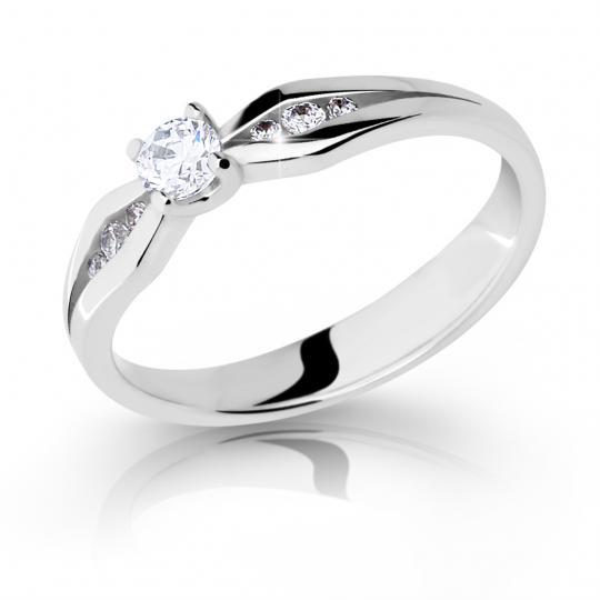 Zlatý zásnubný prsteň DF 2122, biele zlato, s briliantom