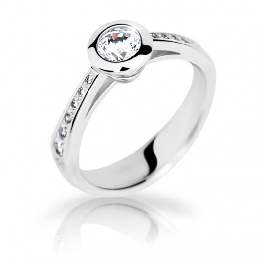 Zlatý zásnubný prsteň DF 2124, biele zlato, s diamantom