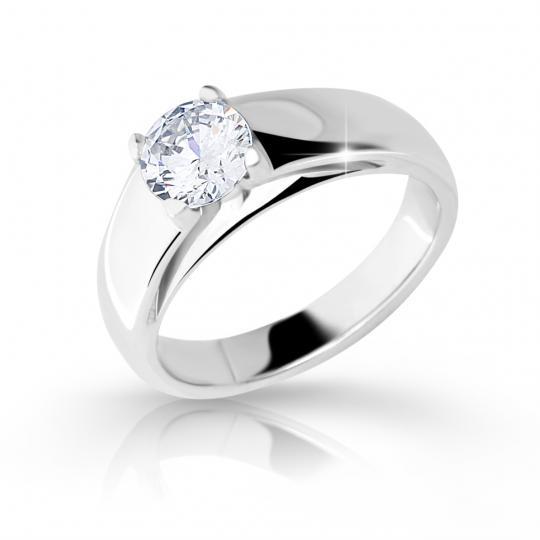 Zlatý zásnubný prsteň DF 2130, biele zlato, s diamantom