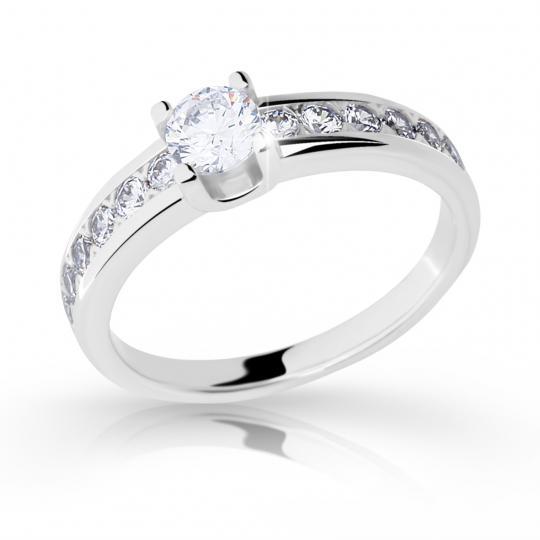 Zlatý zásnubný prsteň DF 2146, biele zlato, s diamantom