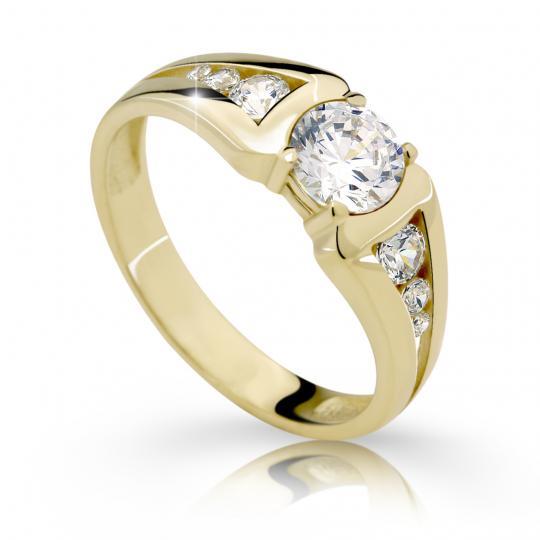 Zlatý zásnubný prsteň DF 2352, žlté zlato, s diamantom