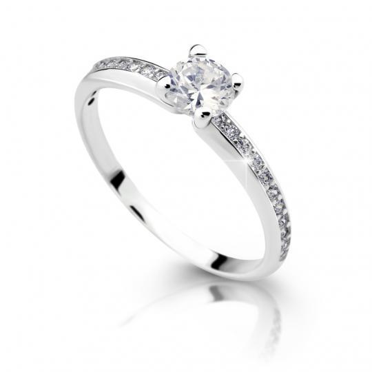 Zlatý zásnubný prsteň DF 2354, biele zlato, s diamantom