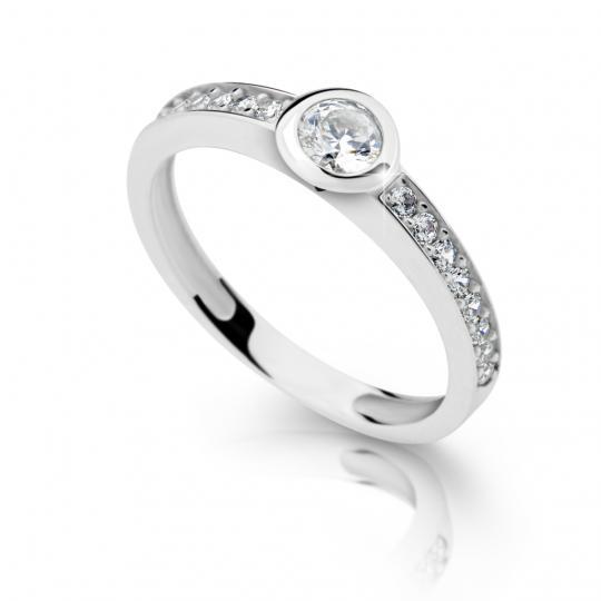 Zlatý zásnubný prsteň DF 2357, biele zlato, s briliantom