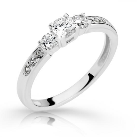 Zlatý zásnubný prsteň DF 2360, biele zlato, s briliantom