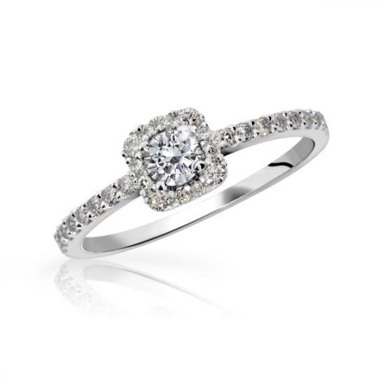 Zlatý zásnubný prsteň DF 2800, biele zlato, s briliantom