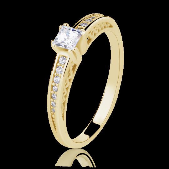 Zlatý zásnubný prsteň DF 2891, žlté zlato, s diamantom