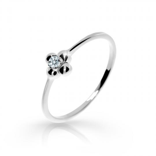 Zlatý zásnubný prsteň DF 2932, biele zlato, s briliantom