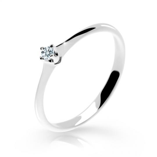 Zlatý zásnubný prsteň DF 2940, biele zlato, s briliantom