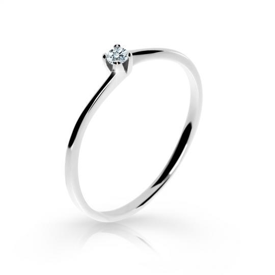 Zlatý zásnubný prsteň DF 2943, biele zlato, s briliantom