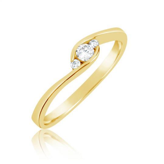Zlatý zásnubný prsteň DF 2954, žlté zlato, s briliantom