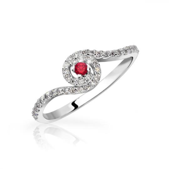 Zlatý zásnubný prsteň DF 3052, biele zlato, rubín s diamantmi