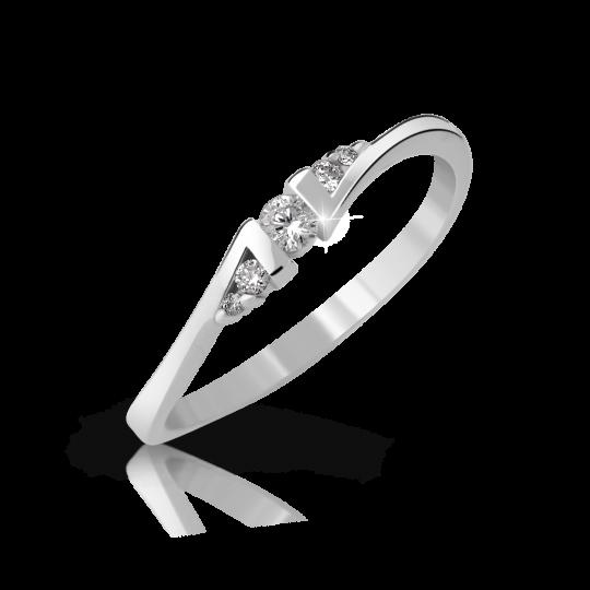 Zlatý zásnubný prsteň DF 3054, biele zlato, s briliantom