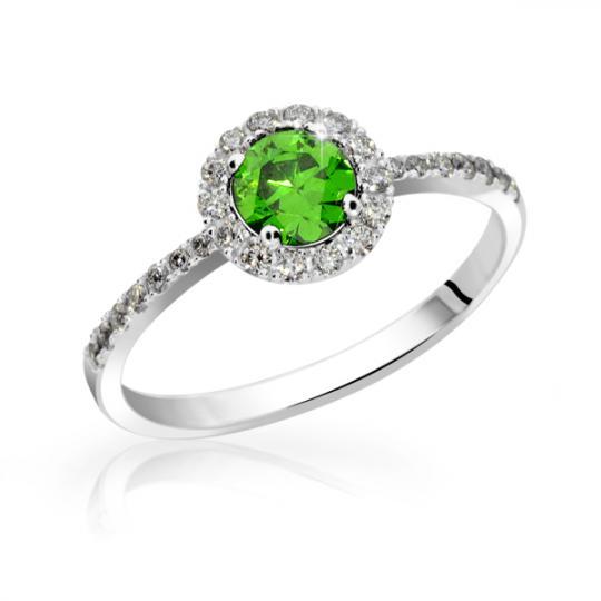 Zlatý zásnubný prsteň DF 3098, biele zlato, smaragd s diamantmi