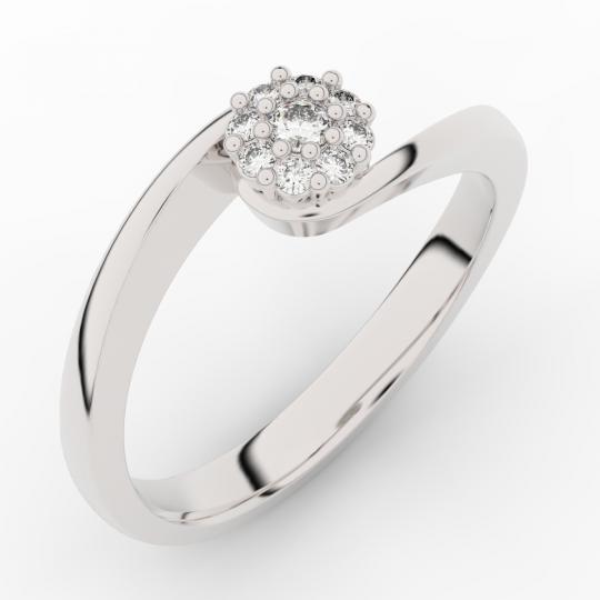 Zlatý zásnubný prsteň DF 3934, biele zlato, s briliantom