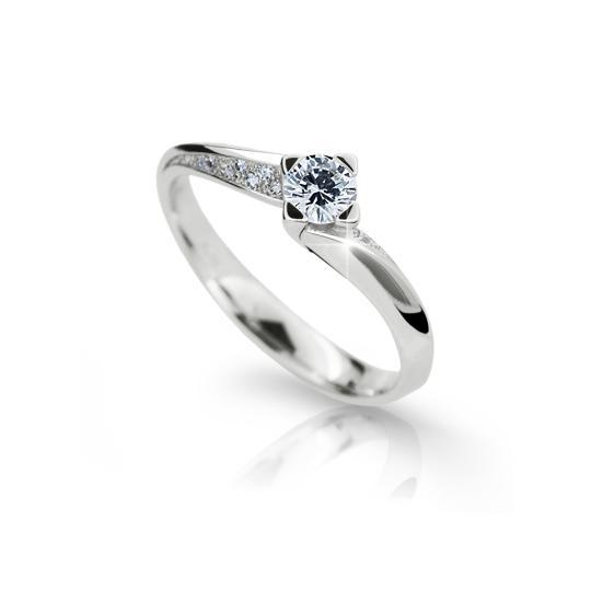 Zlatý zásnubný prsteň DF2101, biele zlato, s briliantom